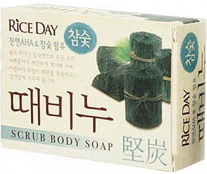 CJ Lion~Мыло-скраб на основе древесного угля для лица и тела~Rice Day Scrub Body Charcoal Soap